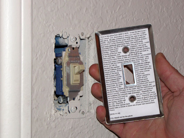 Geek Hides Printed Time Capsule On Back Of Light Switch Plate