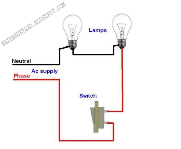How To Control 2 Lamps (bulbs) By One Way Switch (series Circuit