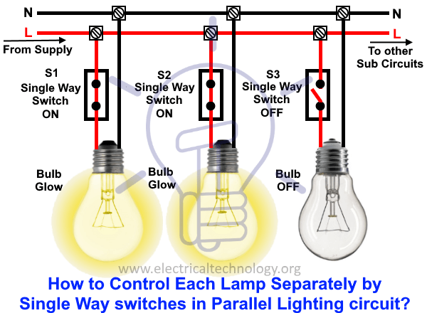 How To Control Each Lamp By Separately Switch In Parallel Lighting