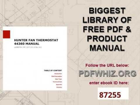 Hunter Fan Thermostat 44360 Manual