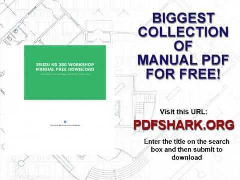 Isuzu Kb 280 Workshop Manual Free Download