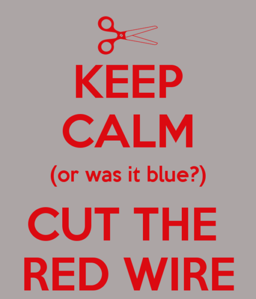 Keep Calm (or Was It Blue ) Cut The Red Wire Poster