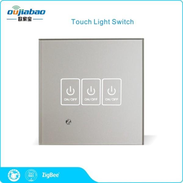 Oujiabao 86 Wall Switch 3 Gang Zigbee Ha Touch Light Switch Single