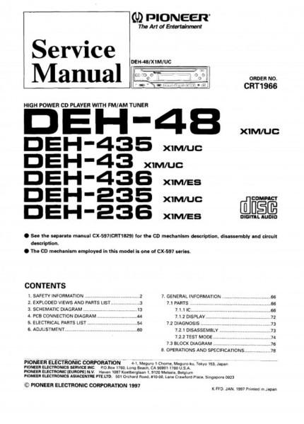 Pioneer Deh 43 Wiring Diagram