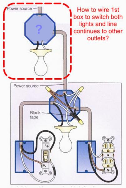 Power From Light To Receptacle Wiring