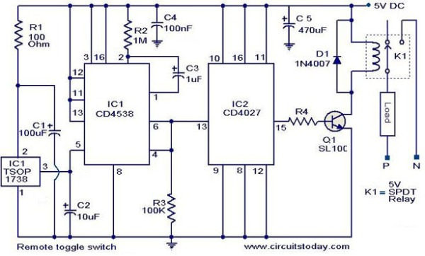 Remote Toggle Switch Circuit Electronic Circuits And Diagram