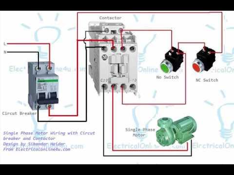 Single Phase Motor Contactor Wiring Diagram In Urdu & Hindi