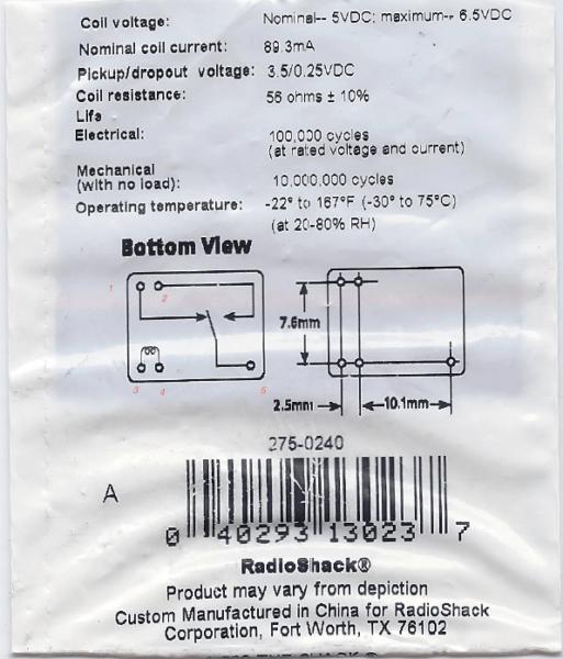 Single Pole Relay Switch