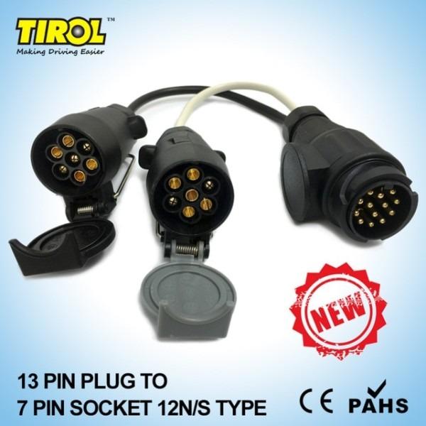 Tirol 13 Pin Euro Plug To 12n 12s 7 Pin Sockets Caravan Towing