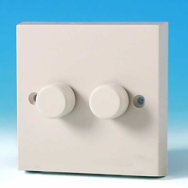 Varilight 2 Gang 1 Way 2x250w Rotary Dimmer Light Switch White