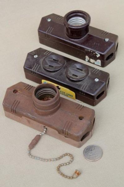 Vintage Bakelite Hardware Lot, Antique Electrical Outlets