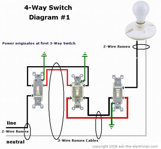 Wiring Diagram 1 Light 3 Switches