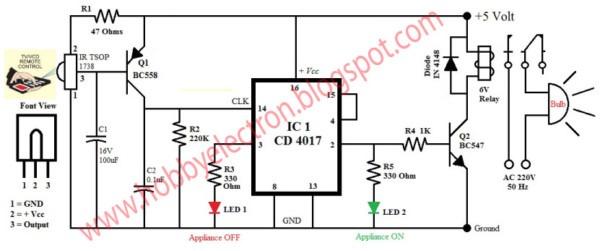 Remote Control Light Fan Switch Circuit Diagram