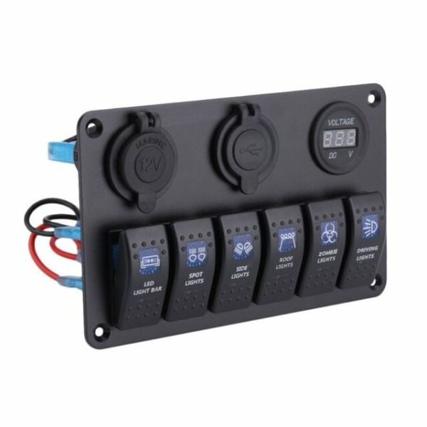 12v 6 Gang 4 Way Waterproof Led Race Marine Toggle Switch Panel