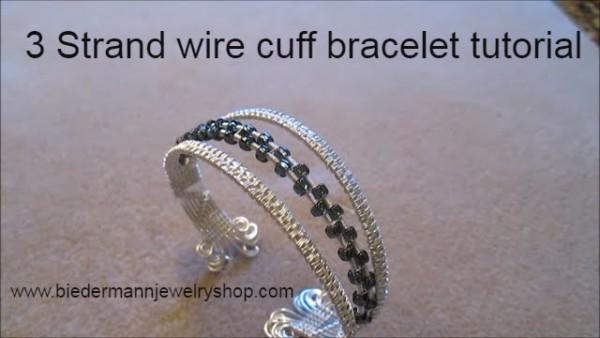 3 Strand Wire Cuff Bracelet With Beads