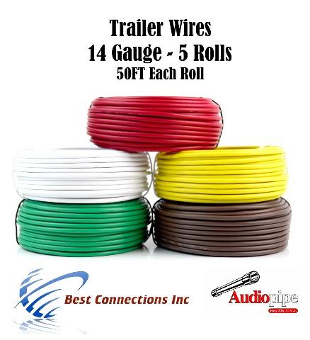 5 Rolls 14 Gauge 50 Feet Trailer Light Cable Wiring Harness