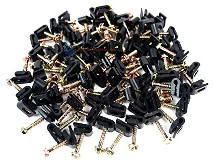 Amazon Com  100 Pcs Ground Wire Black Flex Clips With Screw 10 12