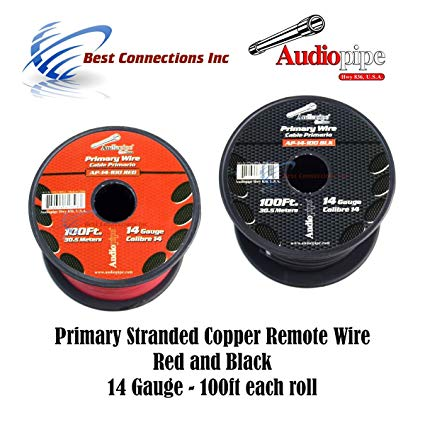 Amazon Com  14 Gauge Wire Red & Black Power Ground 100 Ft Each