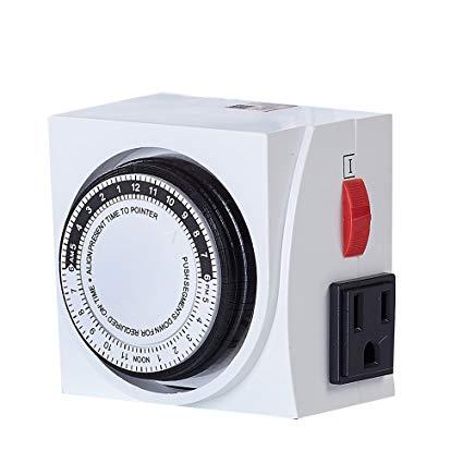 Amazon Com   Topogrow Analog 24 Hour Plug In Dual 110v Heavy Duty