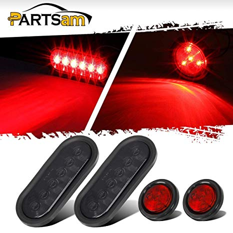 Amazon Com  Partsam Led Small Trailer Light Kit, (2) Red 6 Led 6