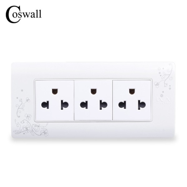 Coswall 3 Way Electrical Socket Us And Thailand Standard Plug