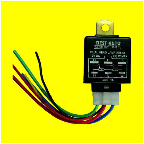 Headlamp Relay (12v) With 6  Wiring