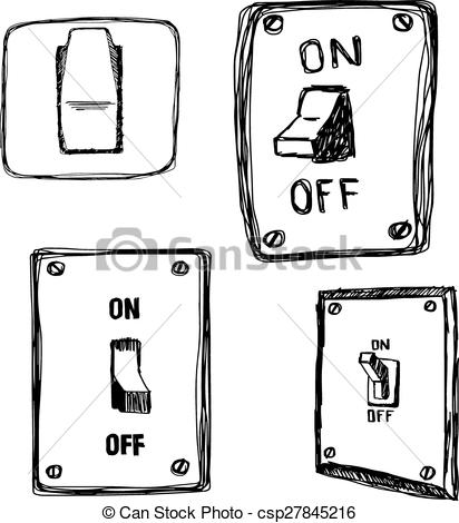 Illustration Vector Hand Drawn Doodles Single Wall Light Switch