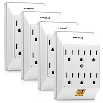 Kasonic Multi Plug Outlet 4 Pack, Wall Mount Power Strip With 6