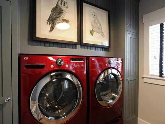 Love The Wall Color With Red Washer And Dryer