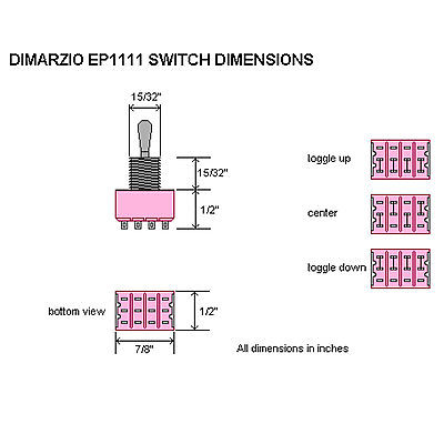 New Dimarzio 3 Way 4 Pole Double Throw Pickup Selector Switch On