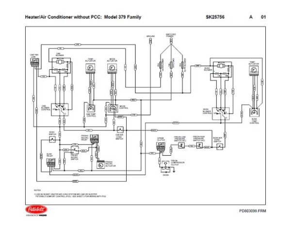 Peterbilt 379 Family Hvac Wiring Diagrams (with & Without Pcc)
