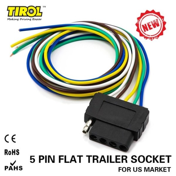 Tirol 5 Way Flat Trailer Wire Harness Extension Connector Socket