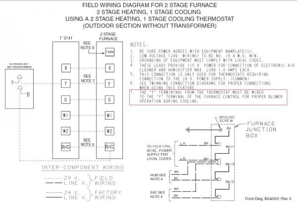 Trane Gas Furnace Thermostat Wiring Diagram