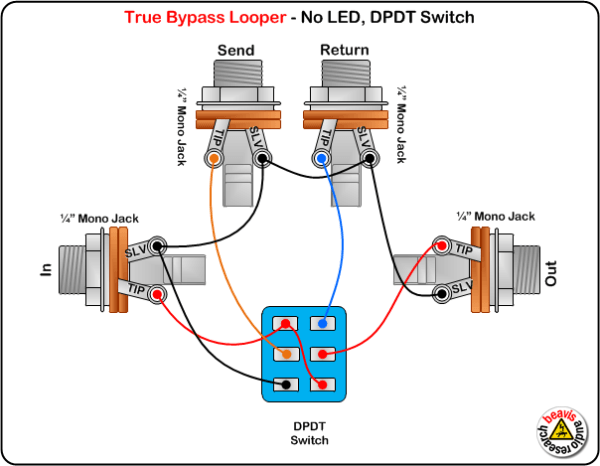 True Bypass Looper Wiring Diagram, No Led, Dpdt Switch