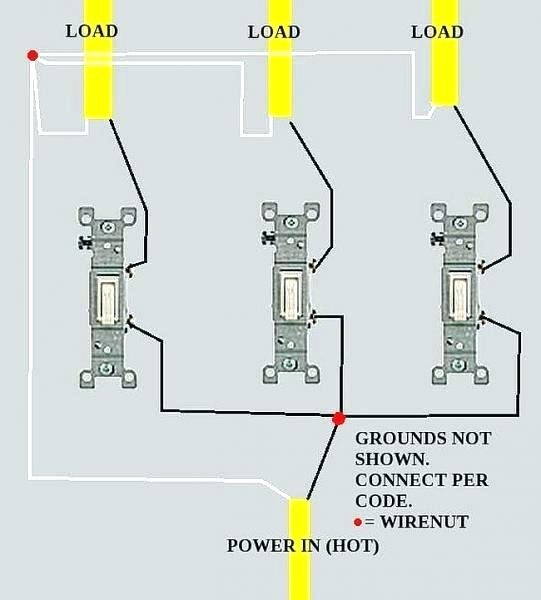 Diagram I Am Wiring Three Light Switches From One Power Source I Have Ran The 12 2 With Ground From The