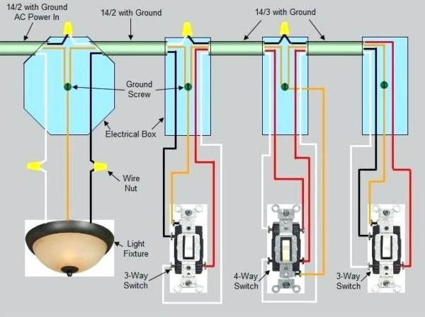 Wiring Three Switches To One Light 4 Way Switch Wiring Diagram