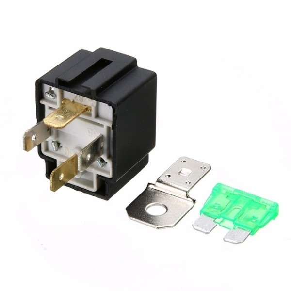 1pc Car Normally Open Contacts Fused Relay On Off With Bracket 4