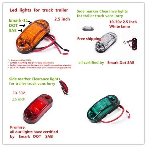 200x Led Side Marker Light Clearance Lamp 12v 24v E Marked Car