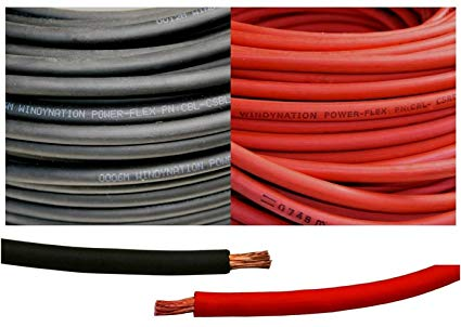 2 Gauge 2 Awg 15 Feet Black + 15 Feet Red ( 30 Feet Total