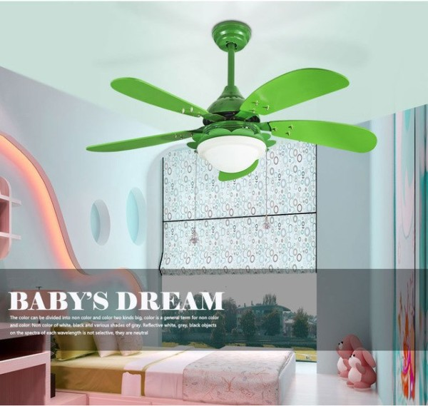 42 Inch Children's Room Pink Or Green Color Ceiling Fan Light With