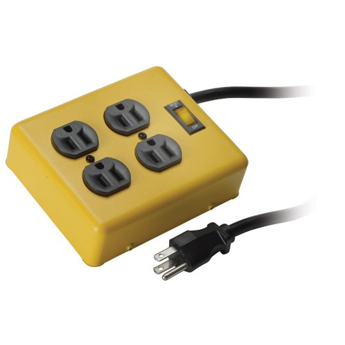 Four Outlet Stage Quad Electrical Box Yellow 15a 6 Ft  Cord