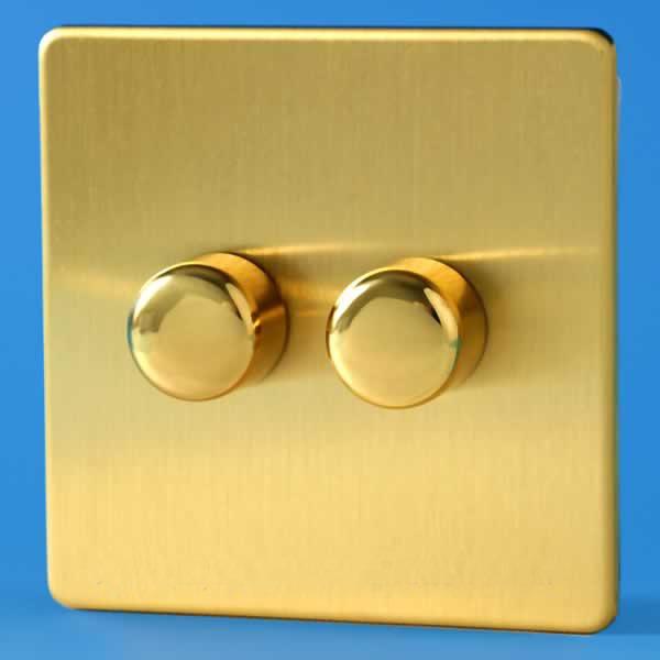 Fresh Brass Light Switch Varilight 2 Gang Way W Push On Off Dimmer