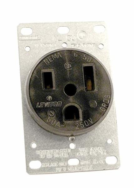 Leviton 5374 50 Amp, 250 Volt, Flush Mounting Receptacle, Straight