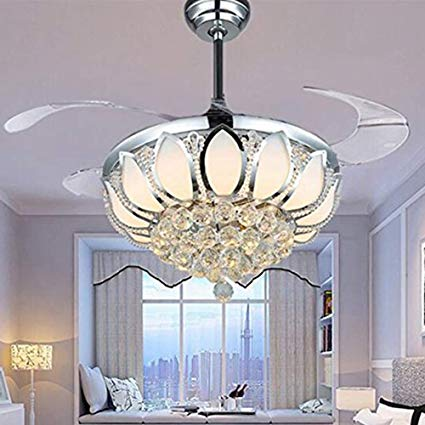 Luxury Modern Crystal Chandelier Ceiling Fan Lamp Folding Ceiling