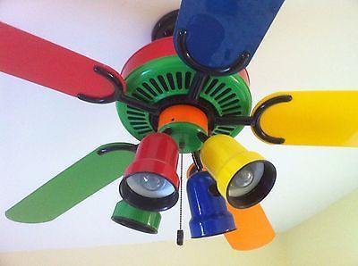 Multicolor Multi Colored 52  Ceiling Fan Kids Red Blue Orange
