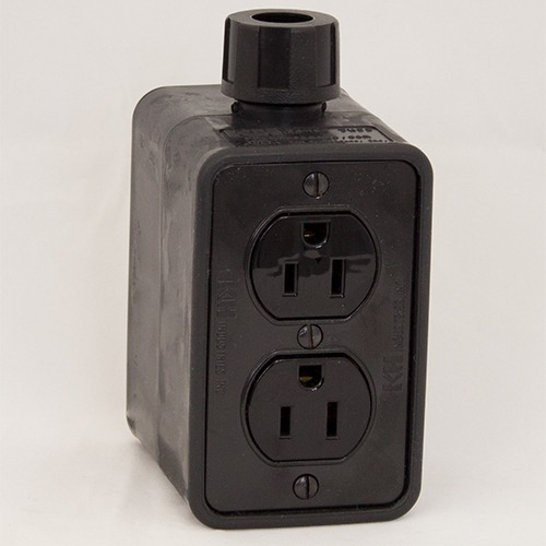 Portable Outlet Box, Black, Duplex Blank, 15 Amp