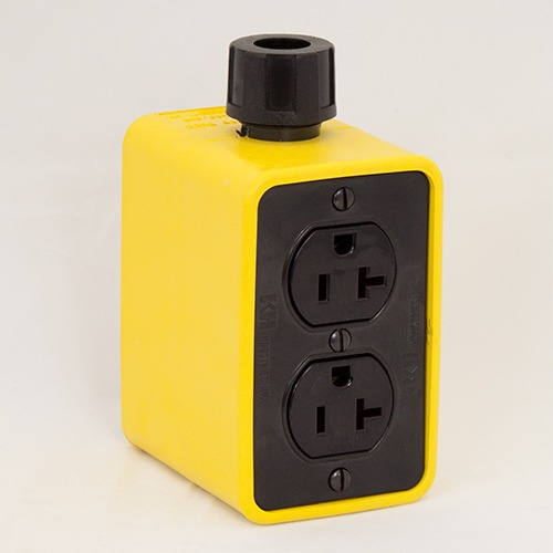 Portable Outlet Box, Yellow, Duplex Duplex, Extra Depth, 20 Amp