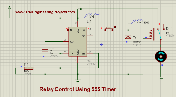 Relay Control Circuit, Relay Control Using 555 Timer In Proteus