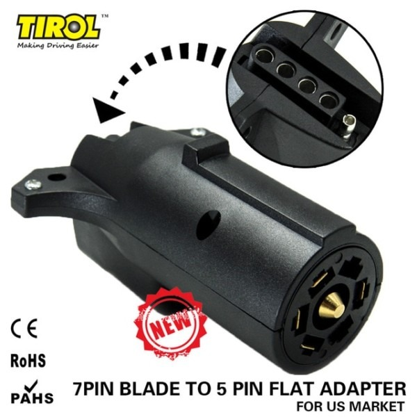 Tirol 7 Way Pin Rv Blade To 5 Way Flat Trailer Wiring Adapter