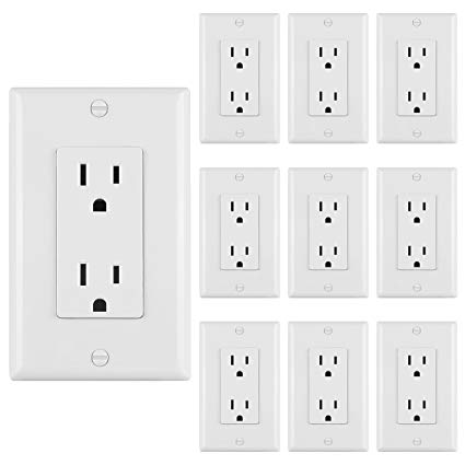 10 Pack] Bestten 15a Standard Decor Outlets With Wall Plates